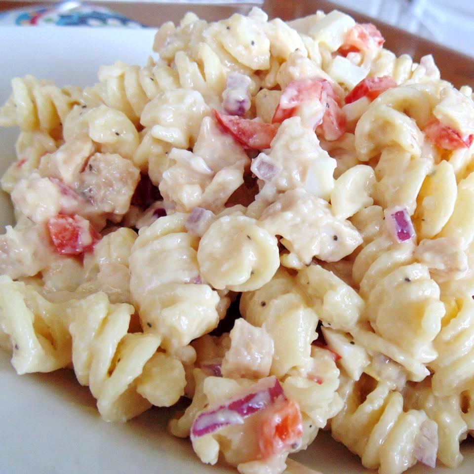 pasta salad with chicken, eggs, red onion