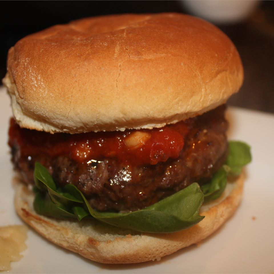 Simple Lasagna Burgers on a white plate