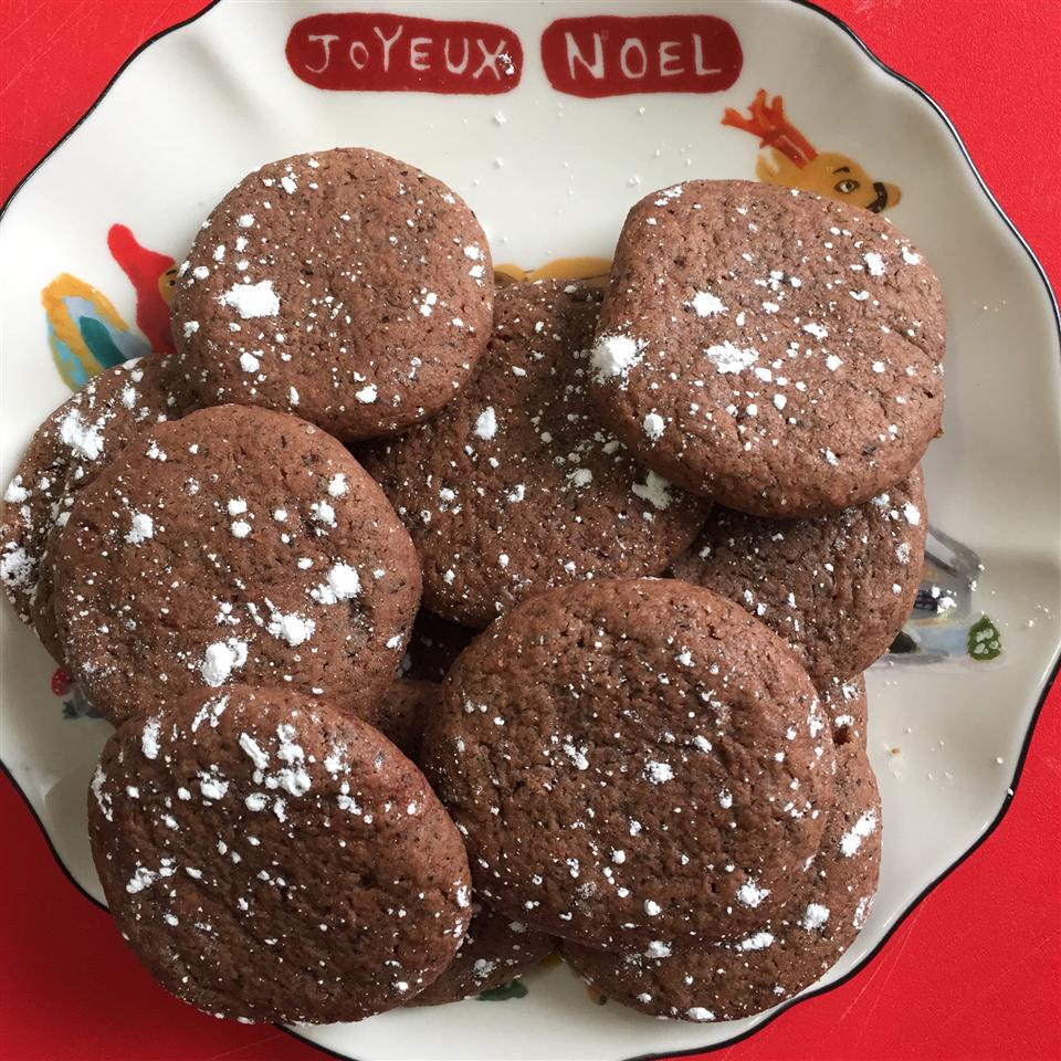 Chocolate Earl Grey Cookies on a christmas place