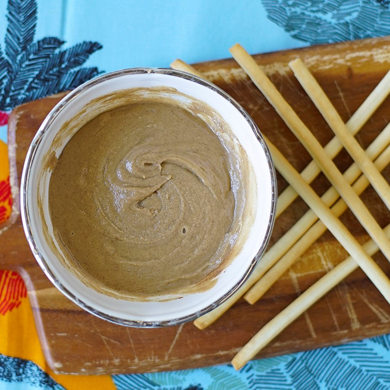 Honey-Cinnamon Tahini Spread with breadsticks