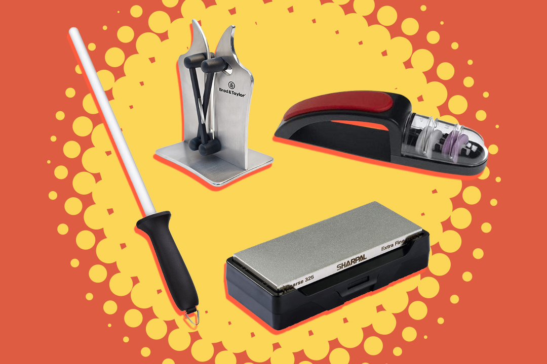 Four different types of knife sharpeners on orange and yellow burst background