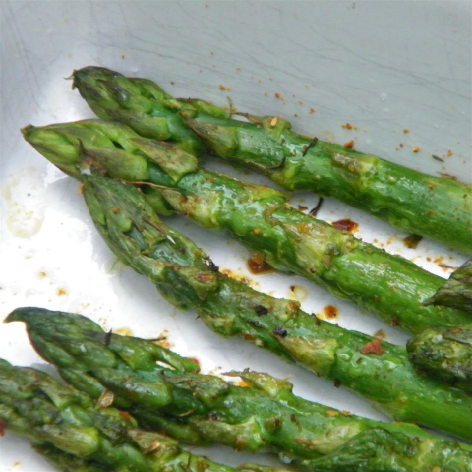 Roasted asparagus in a baking dish