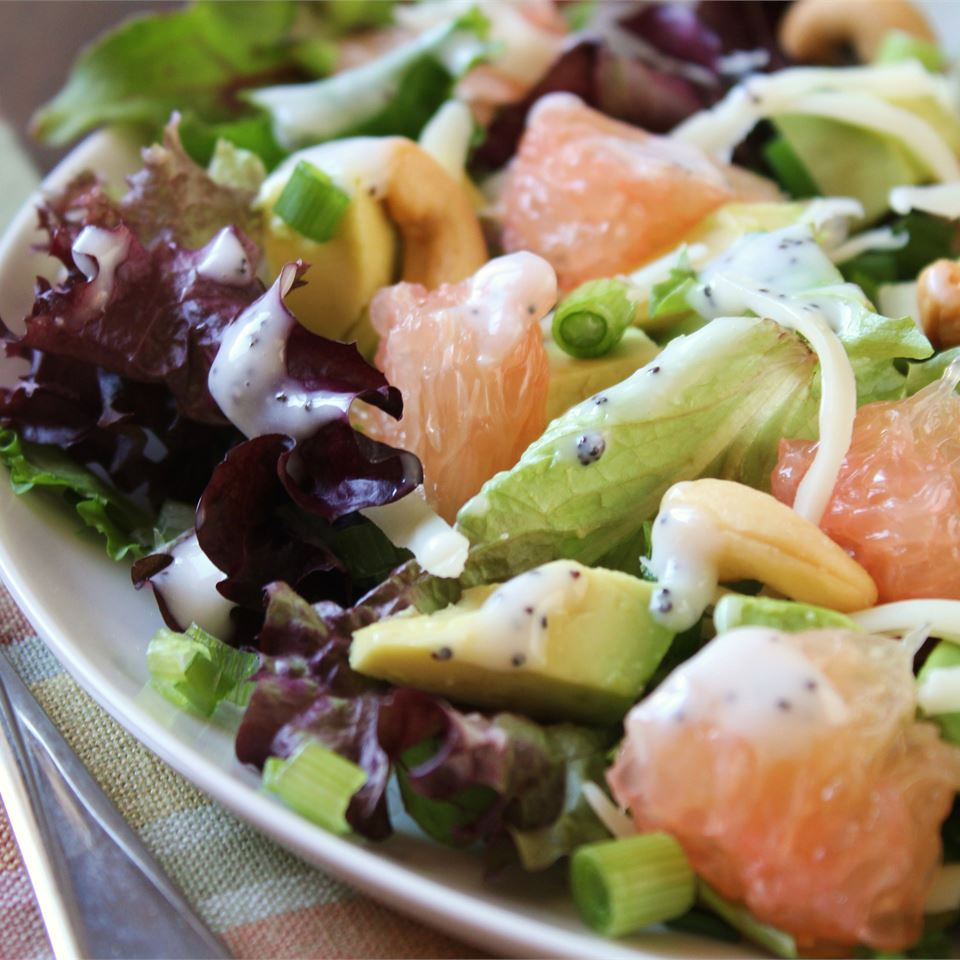 avocado grapefruit lettuce salad with creamy dressing