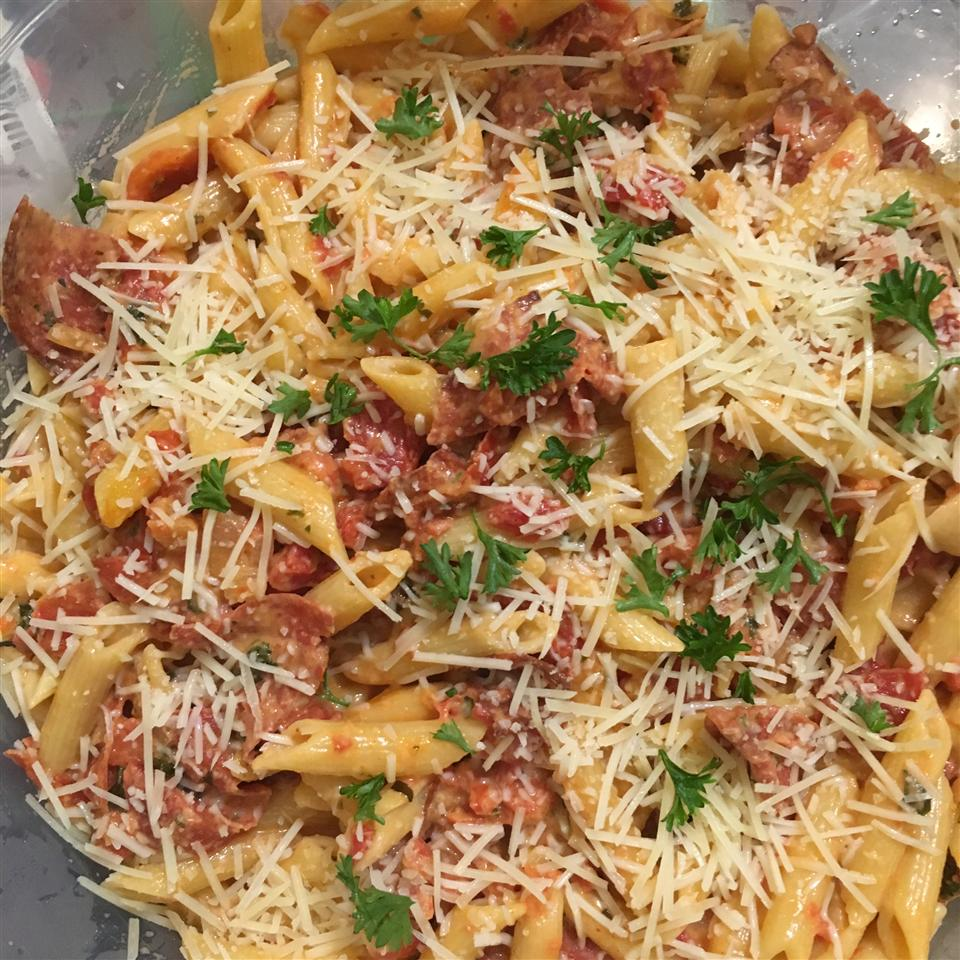 Pepperoni Penne in a bowl