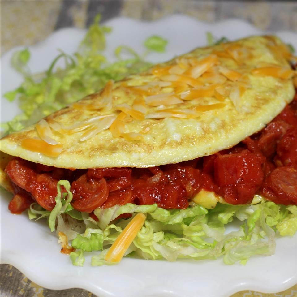 Pepperoni Pizza Omelet on a white plate