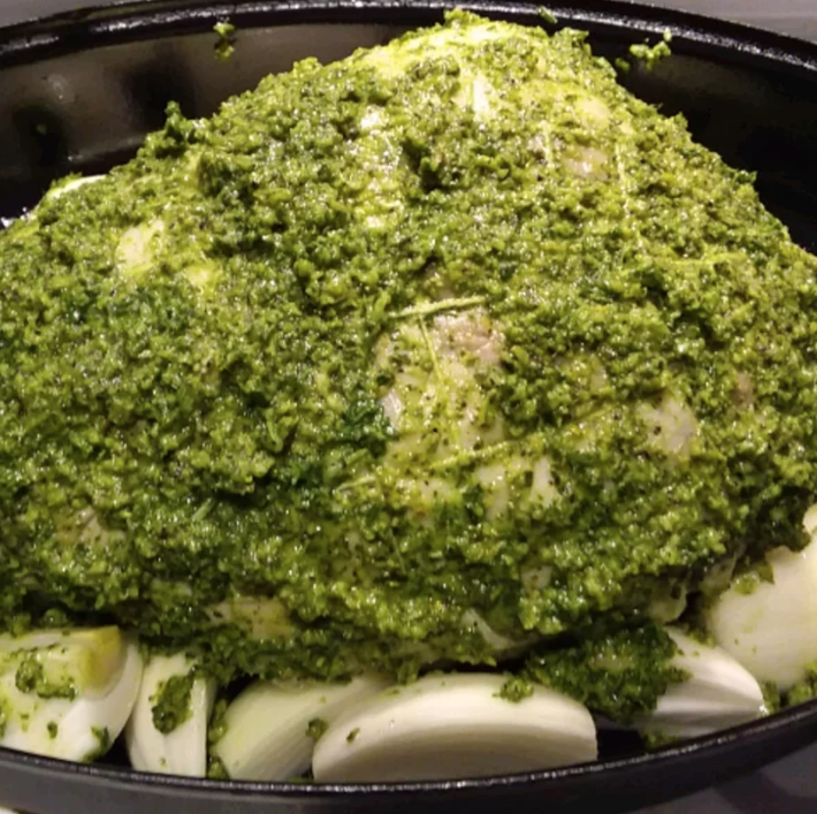 This holiday-perfect leg of lamb is extra juicy and delicious, as it's marinated overnight in yogurt, fresh rosemary, fresh parsley, garlic, and lemons. Make sure to start this recipe at least a day before cooking.