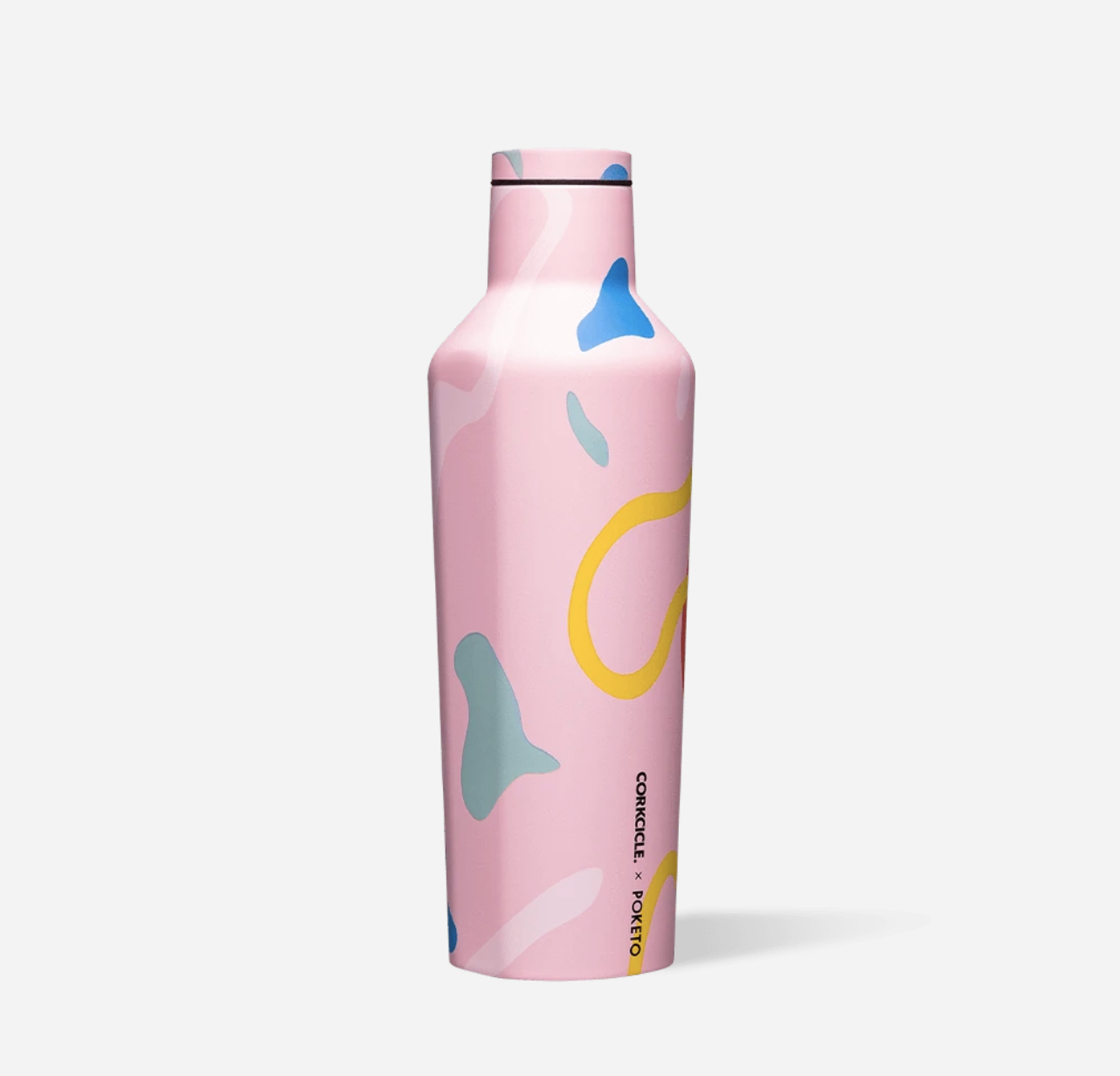 Pink canteen with multi-colored design