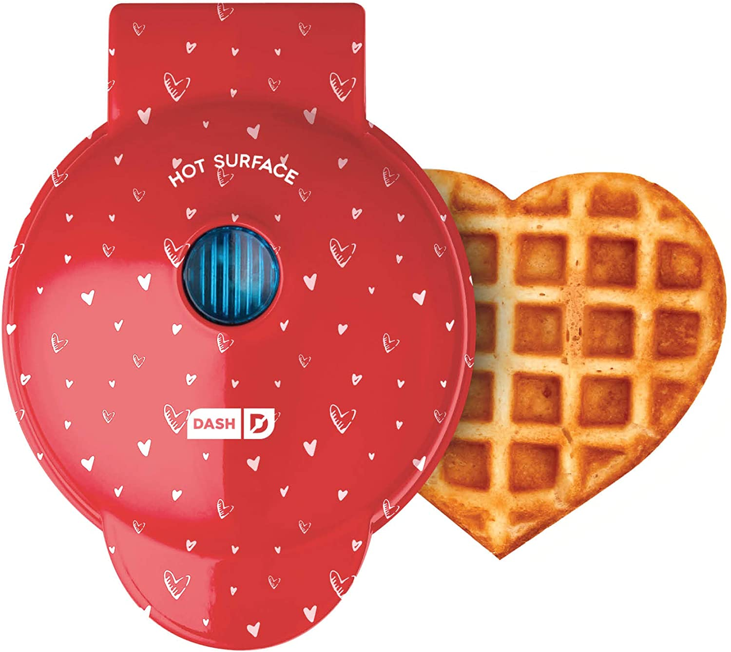 Red Dash waffle maker with heart design and heart-shaped waffle