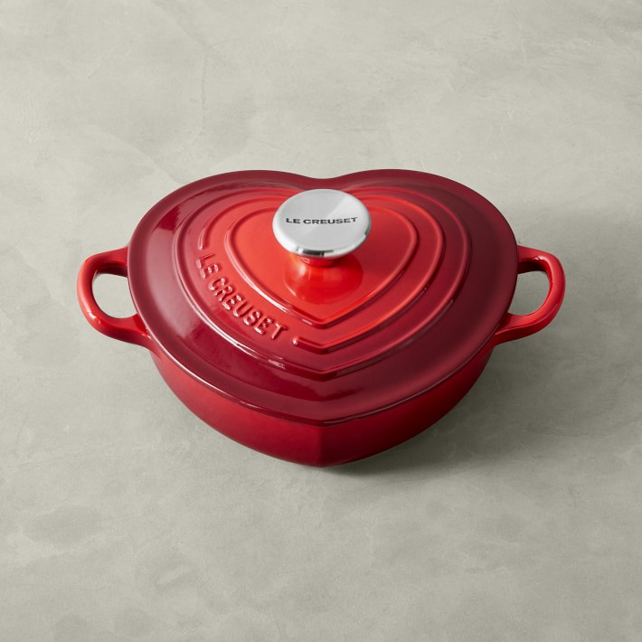 Shallow, red, heart-shaped baking dish