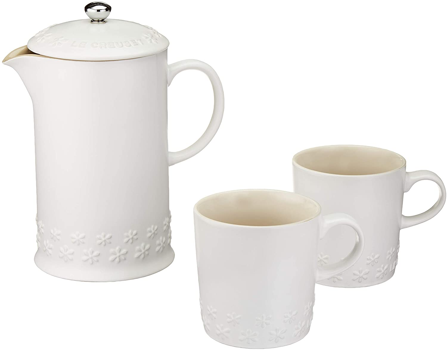 white french press and set of two mugs