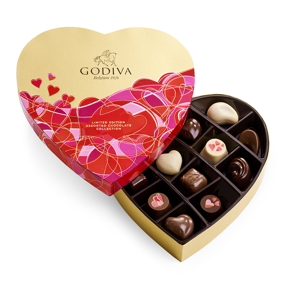 Pink and red heart shaped box of assorted chocolates