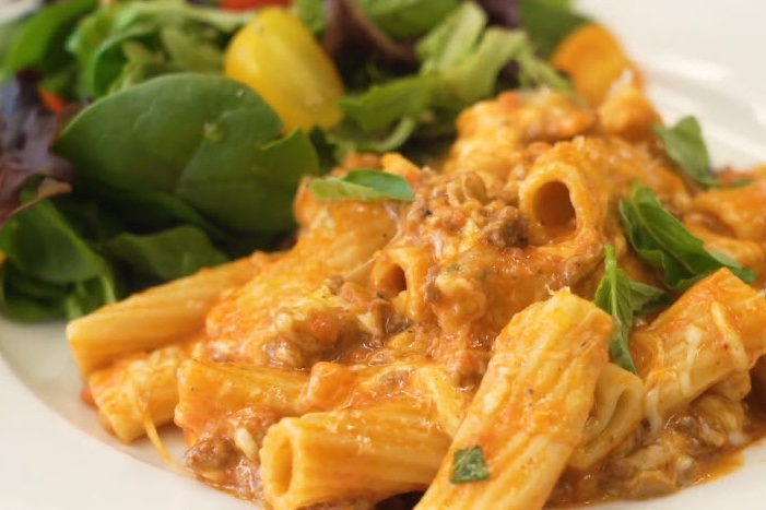 plate of Instant Pot baked ziti