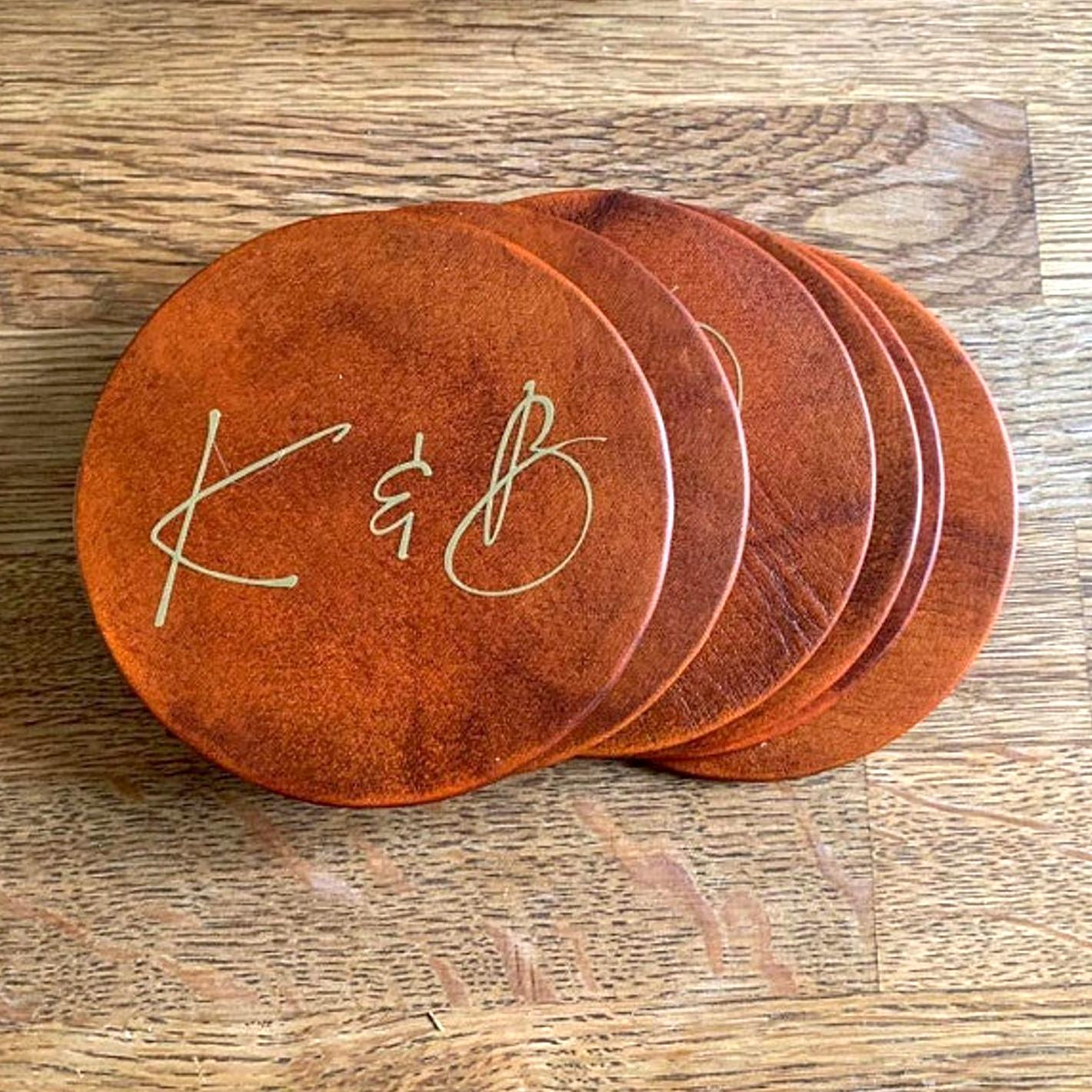 leather coasters with engraved initials