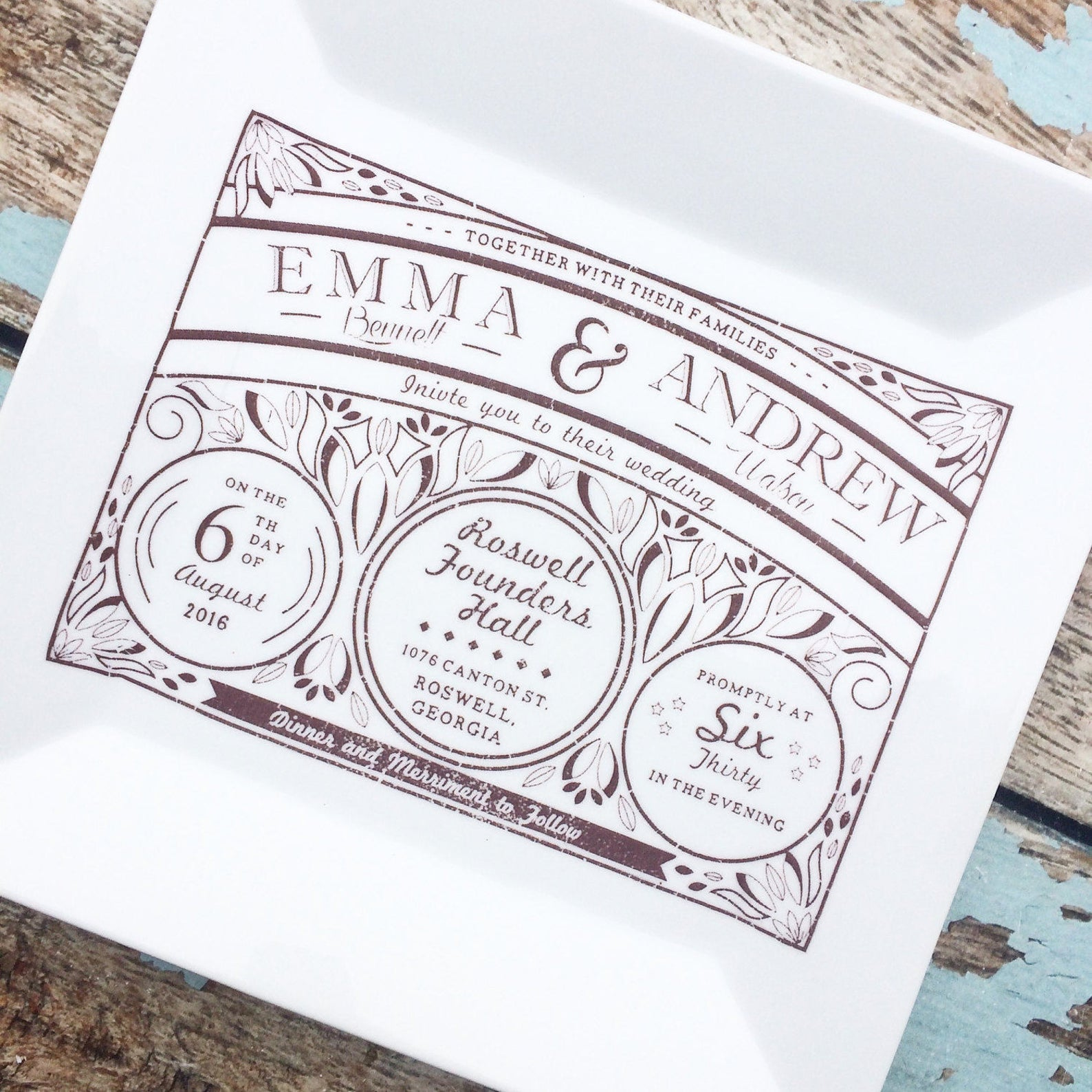 plate printed with wedding invitation