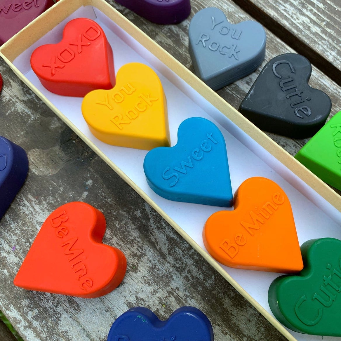 conversation heart valentine crayons in several colors