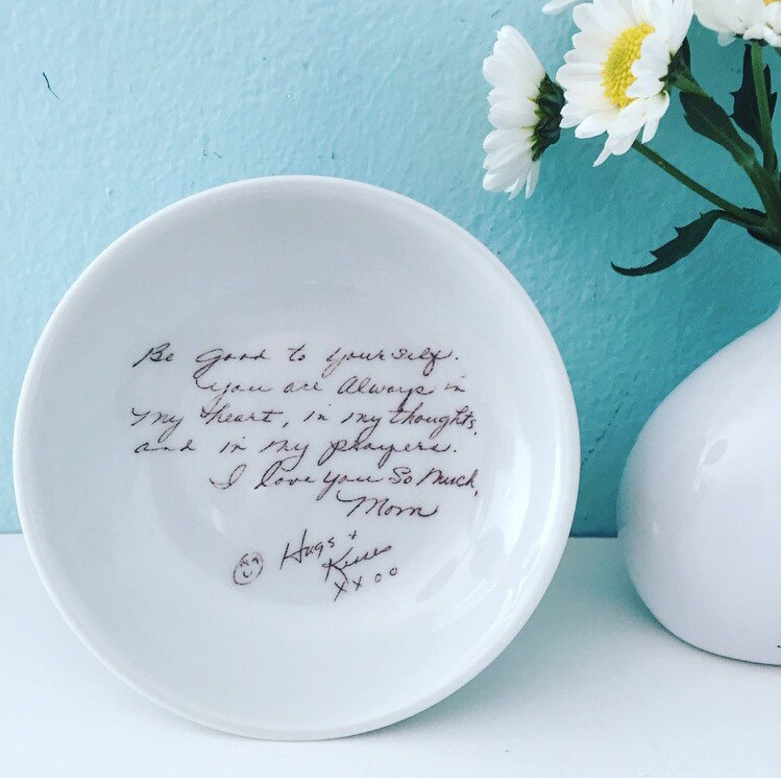 round dish with handwritten note