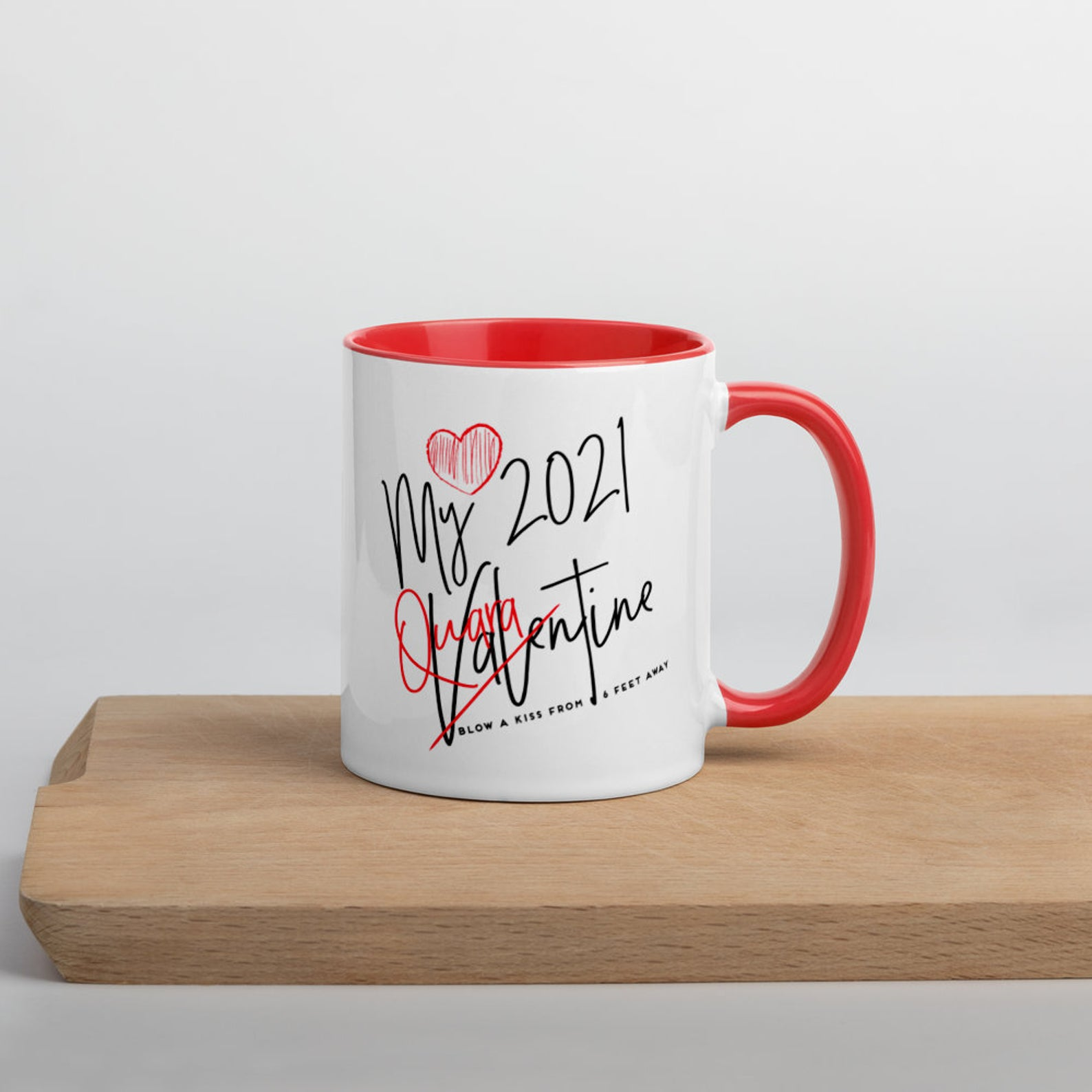 white and red mug with valentines day quarantine message