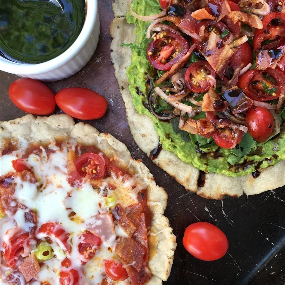 two pizzas made with Grilled Cassava Flour Pizza Crust