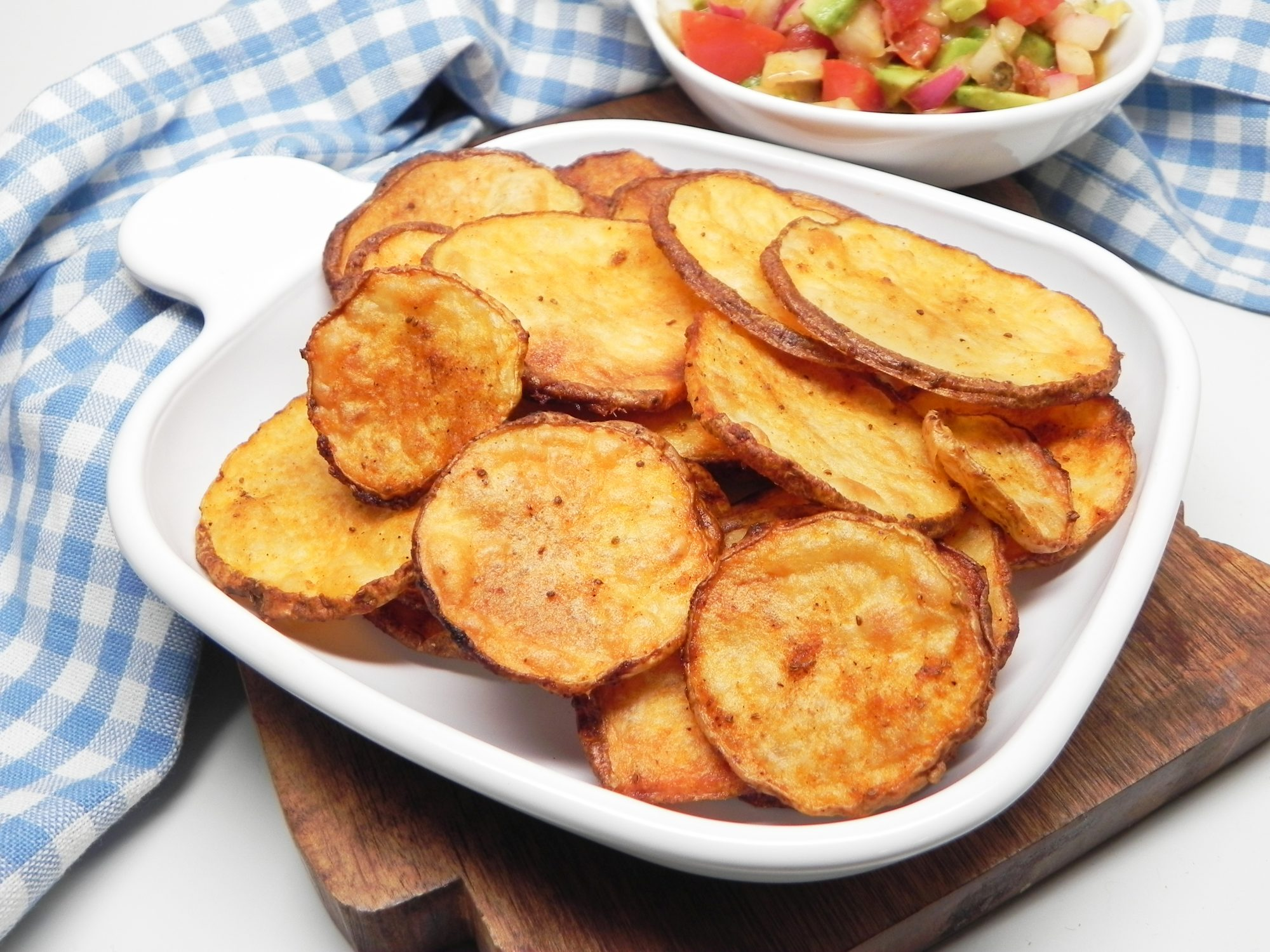 dish of oven-baked potato slices