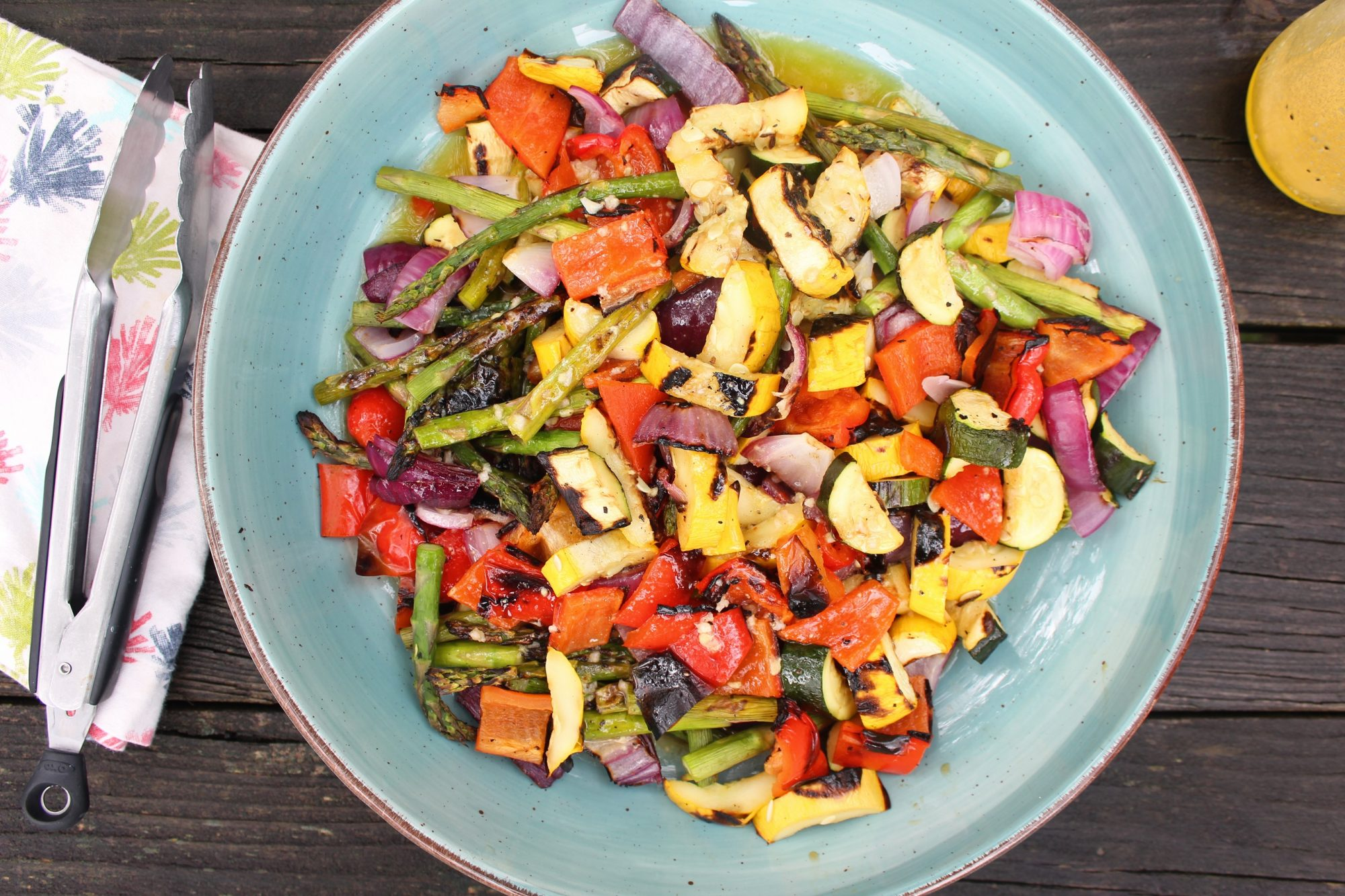 grilled vegetables on blue pottery bowl