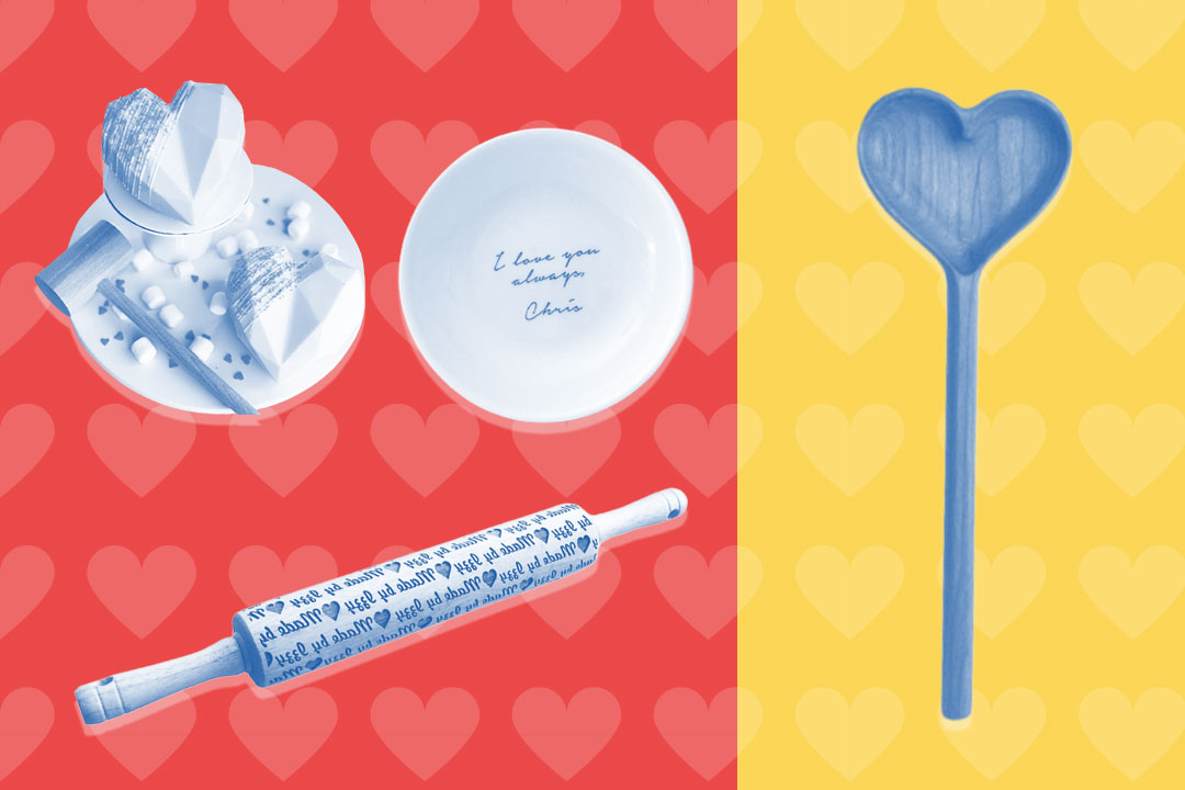 breakable chocolate heart, custom dish, custom rolling pin, and heart-shaped wooden spoon