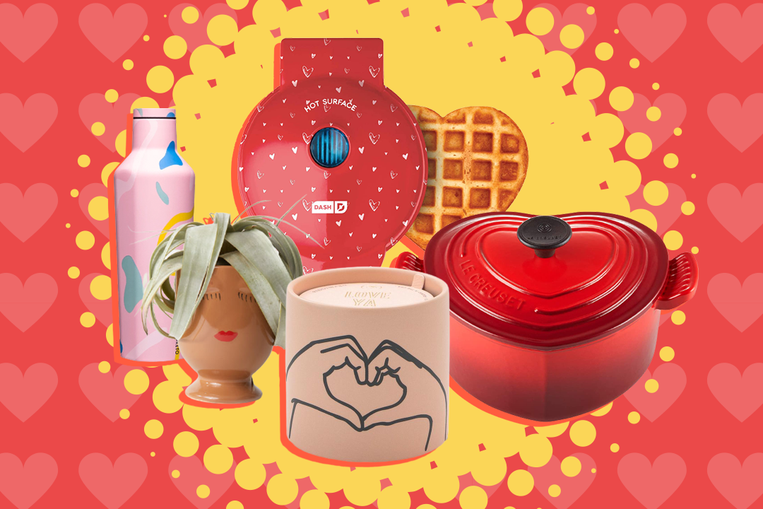 Waffle maker, dutch oven, candle, plant, and water bottle on heart burst background