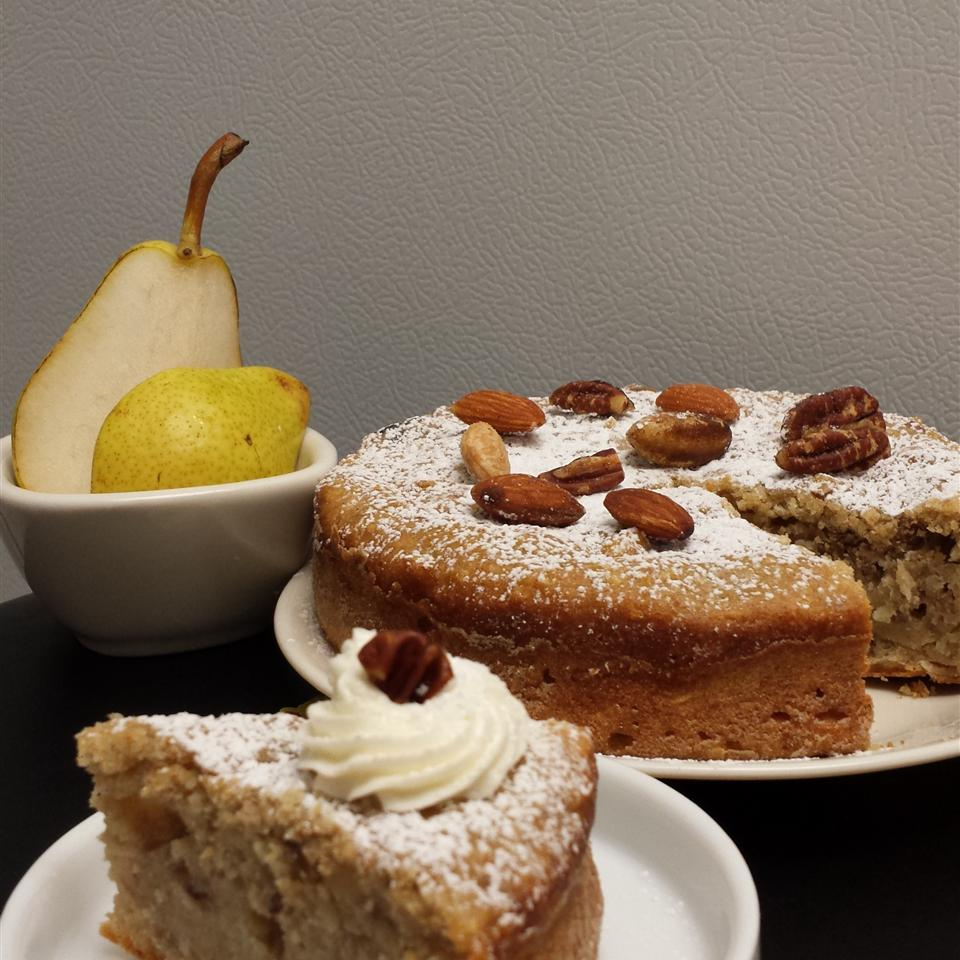 pear cake with slice cut out