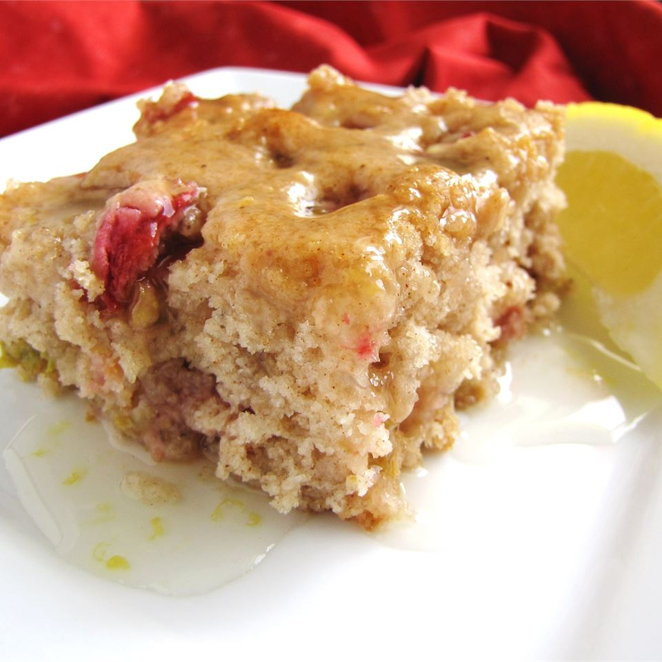 slice of spice cake with rhubarb and lemon sauce