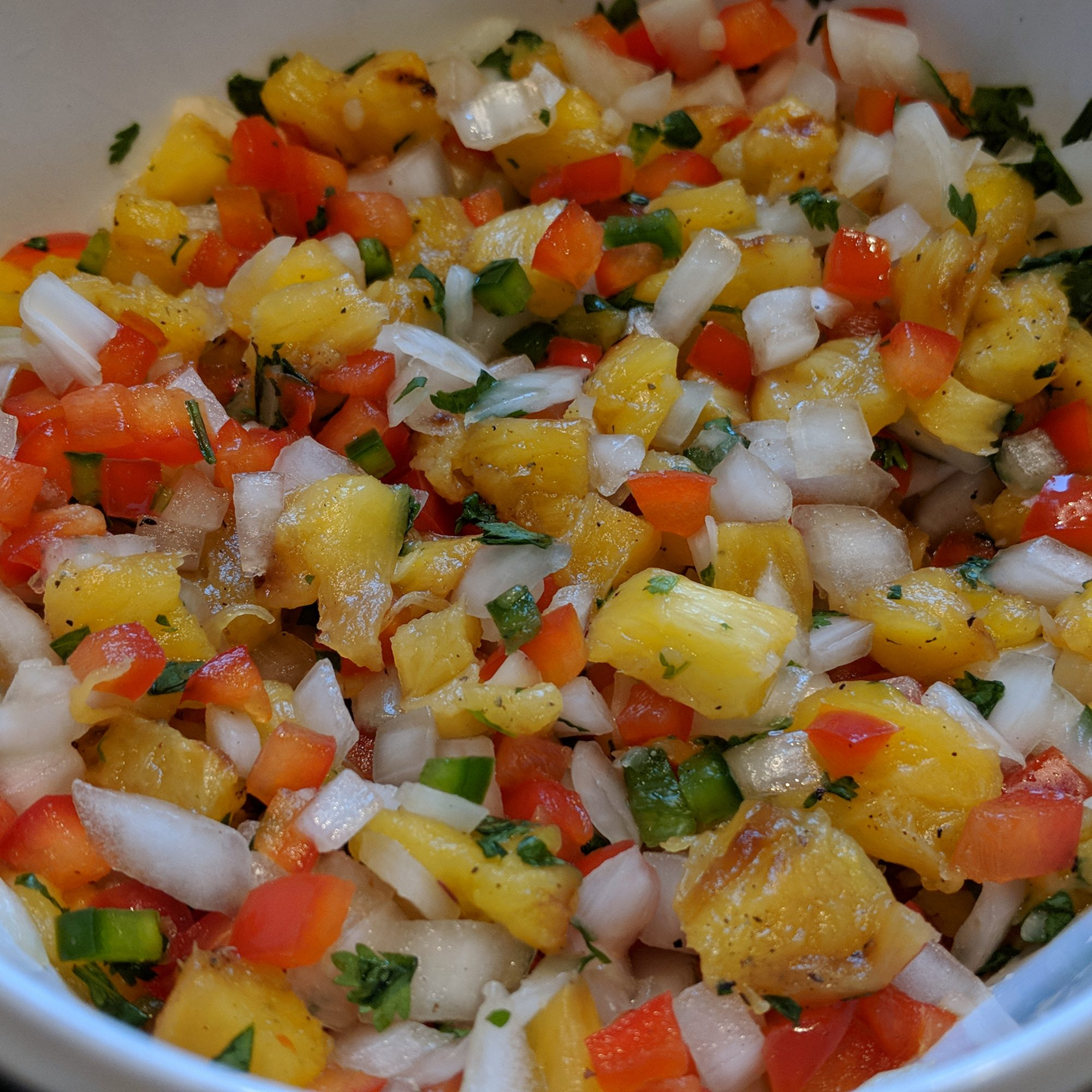 Close up of Grilled Pineapple Salsa