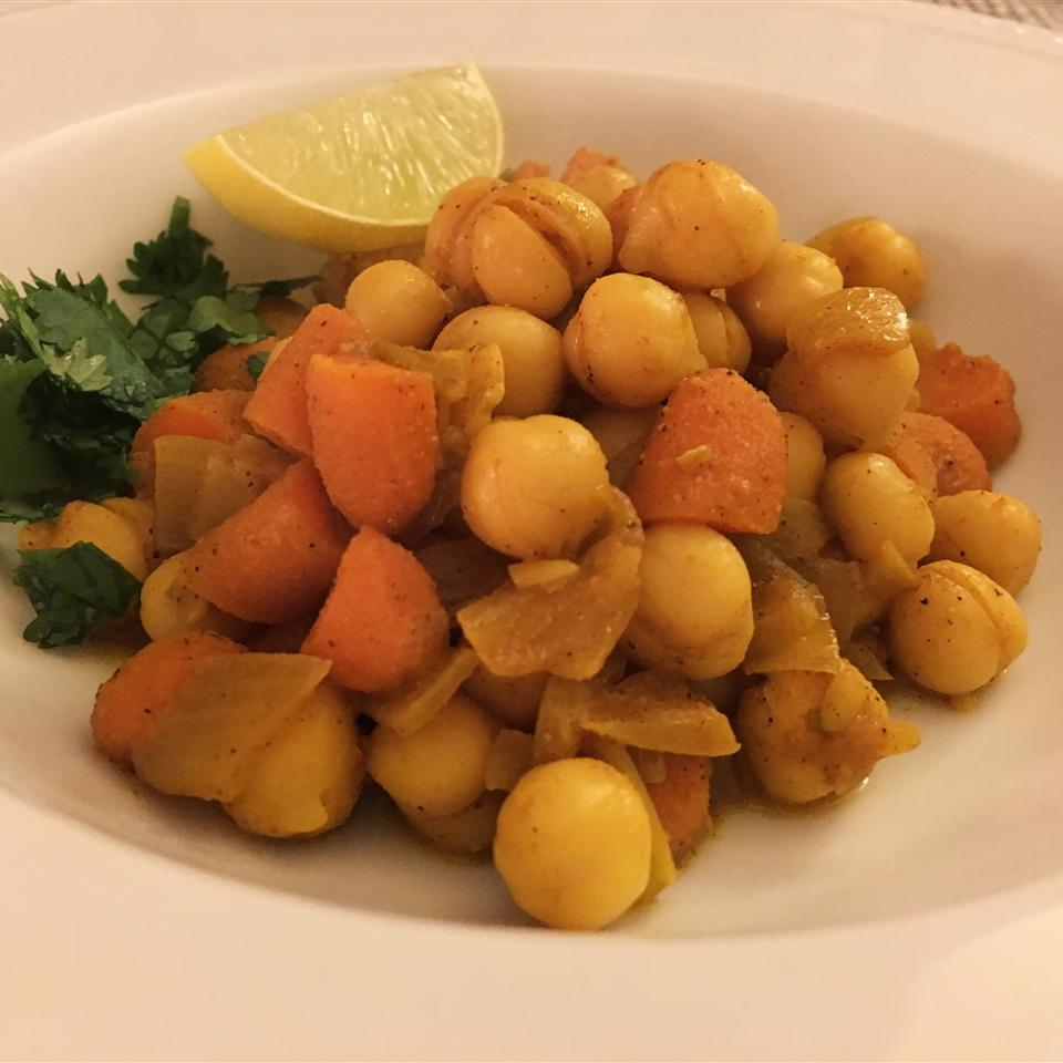 chickpea tagine on a white plate