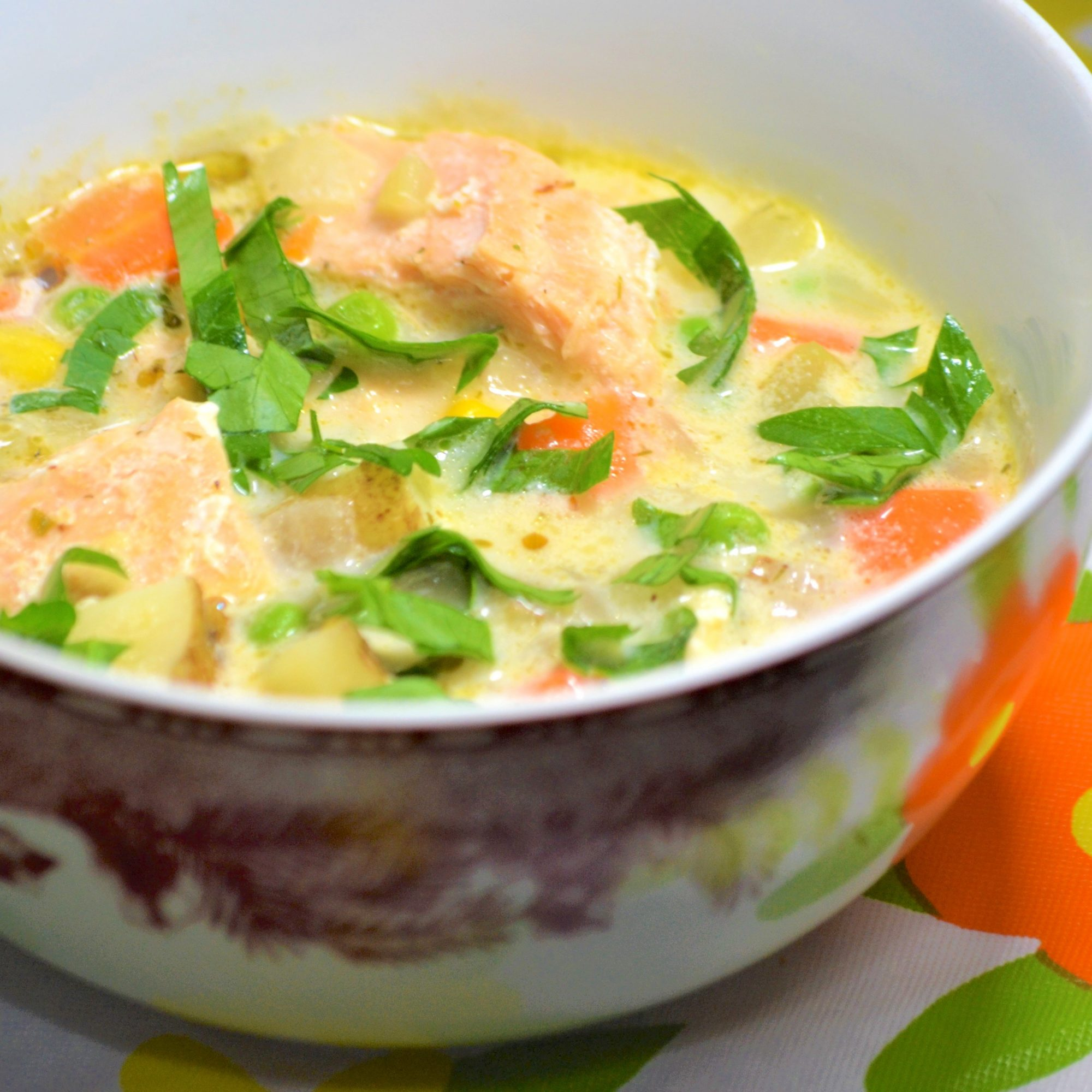 salmon chowder with carrots and potatoes