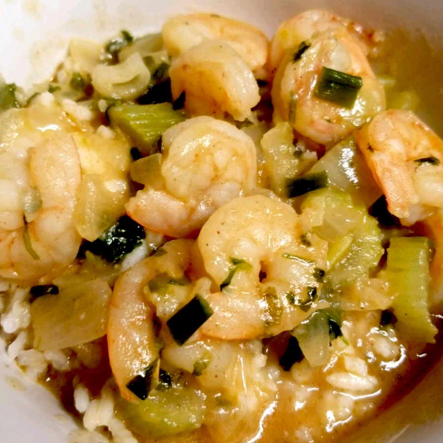 bowl of shrimp gumbo with rice