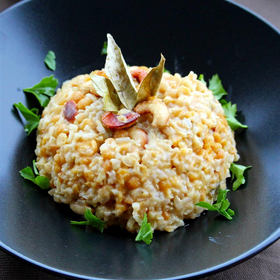 Ven Pongal on a black plate