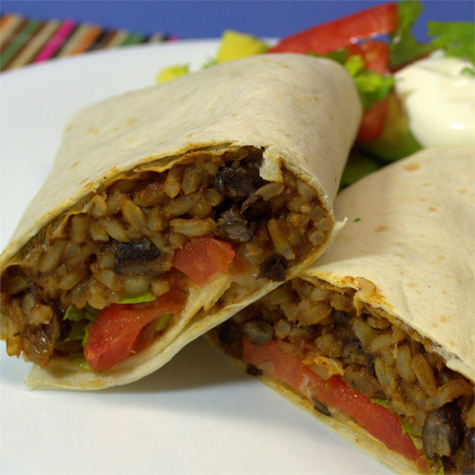 Black Bean and Rice Burritos on a white plate