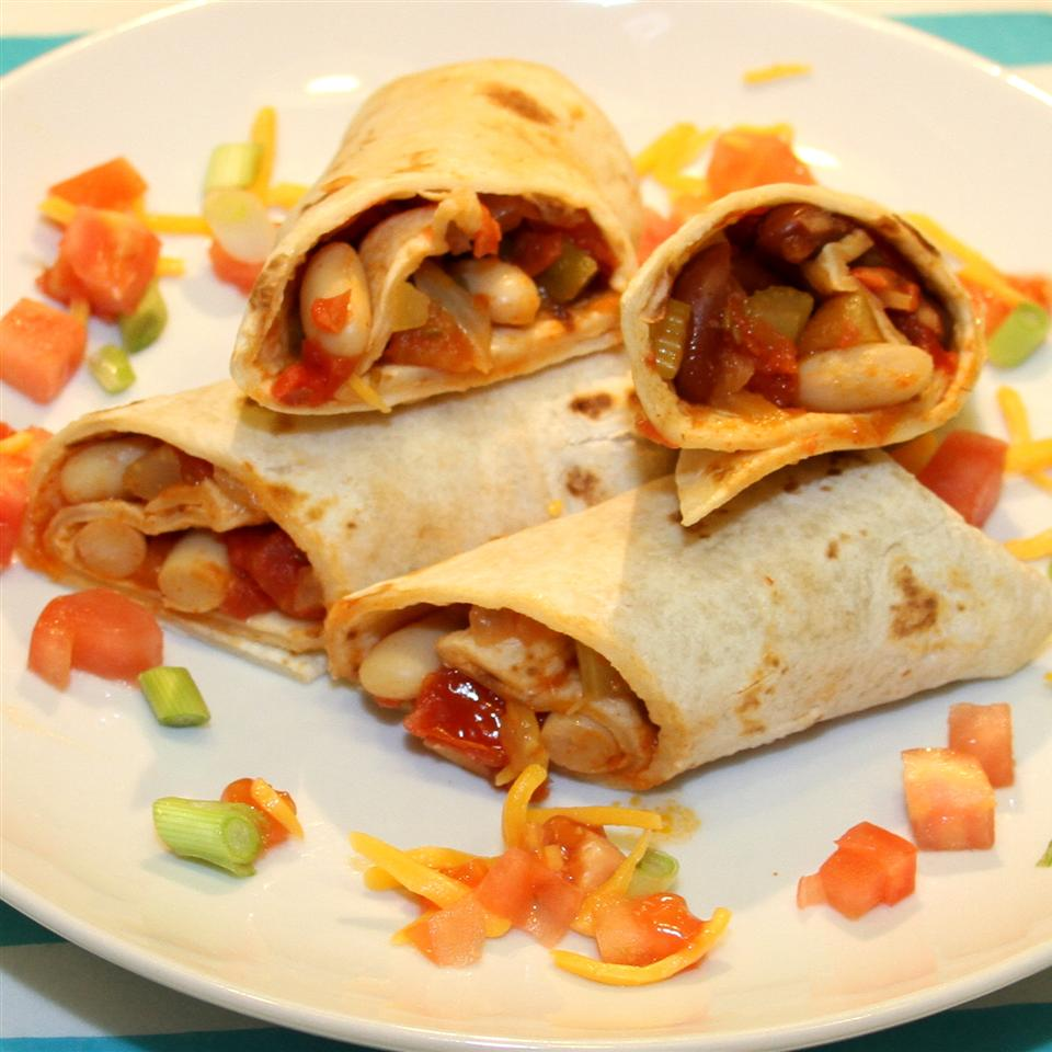 Appetizing Vegetarian Burritos on a white plate