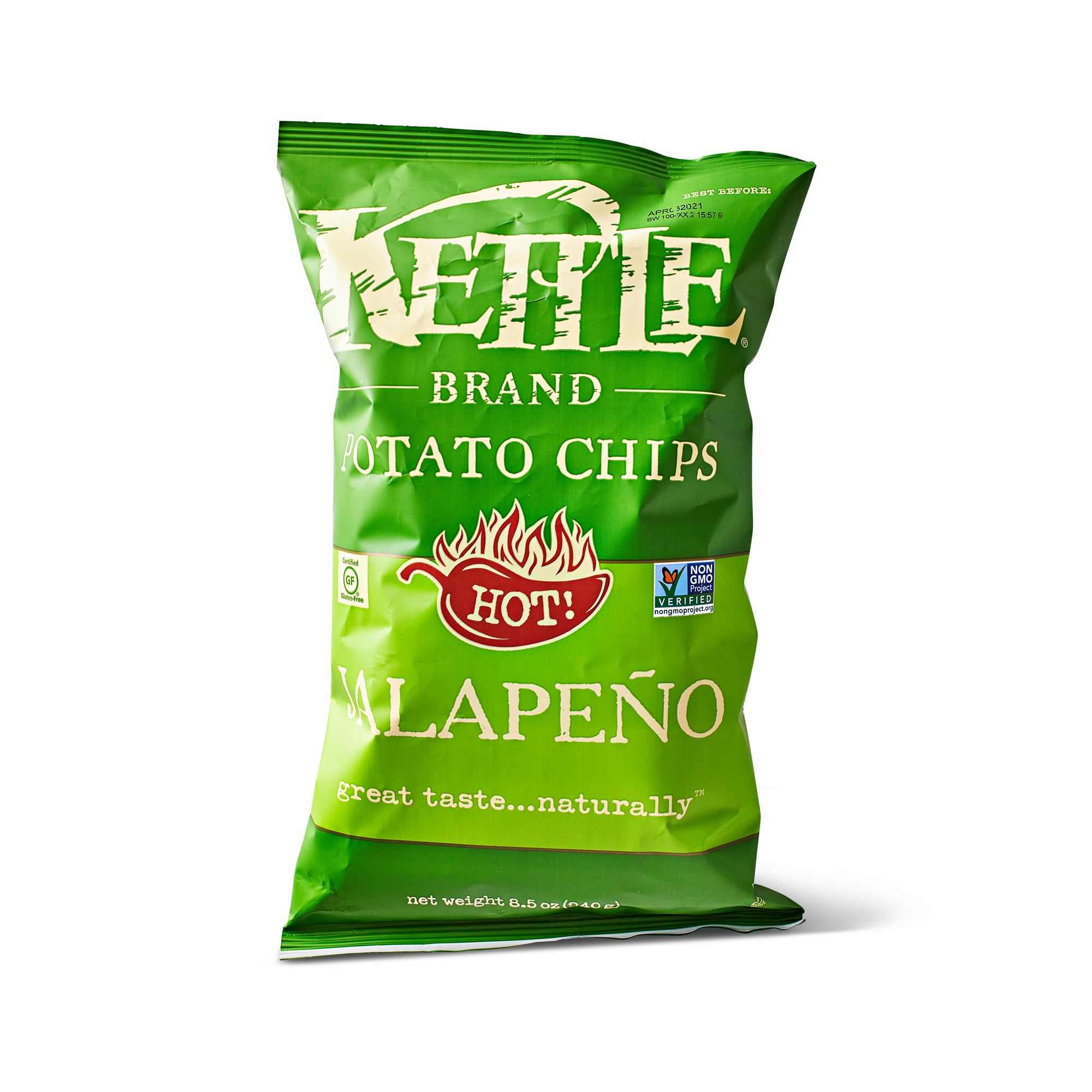 bag of Kettle Brand jalapeño chips