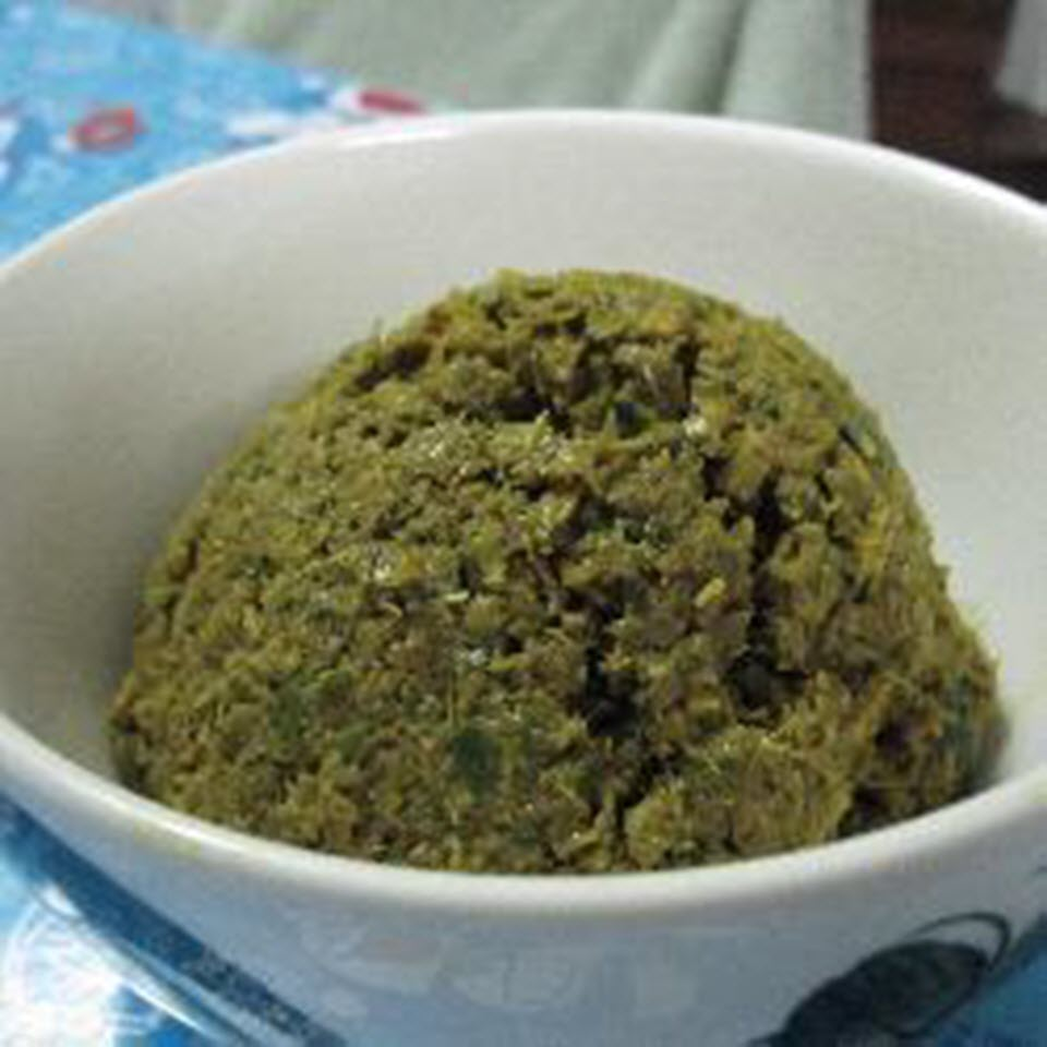 Real Thai Green Curry Paste in a white bowl