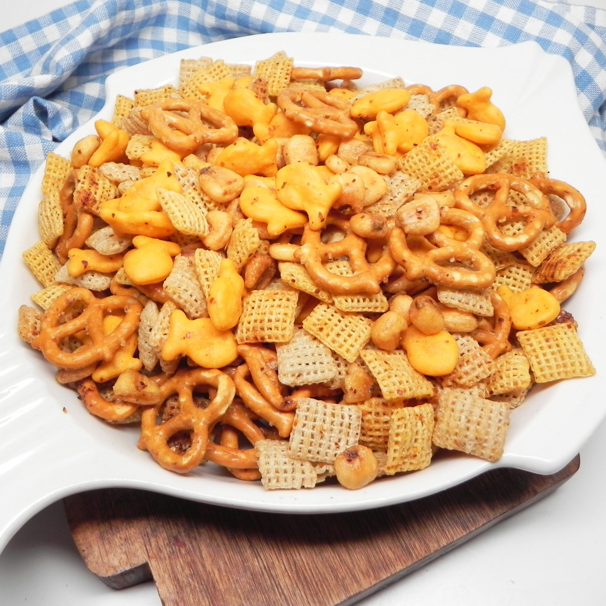Tajin Snack Mix in a white dish