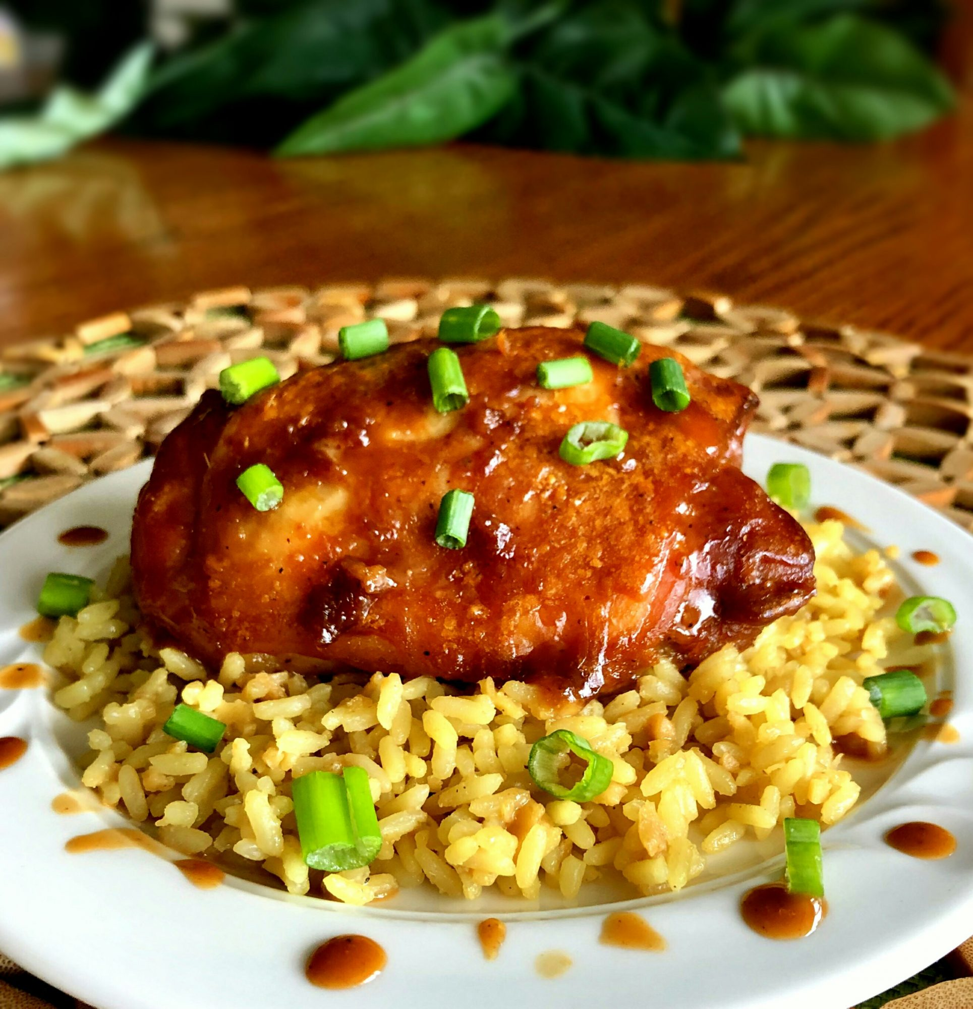 glazed chicken thigh over rice with green onions
