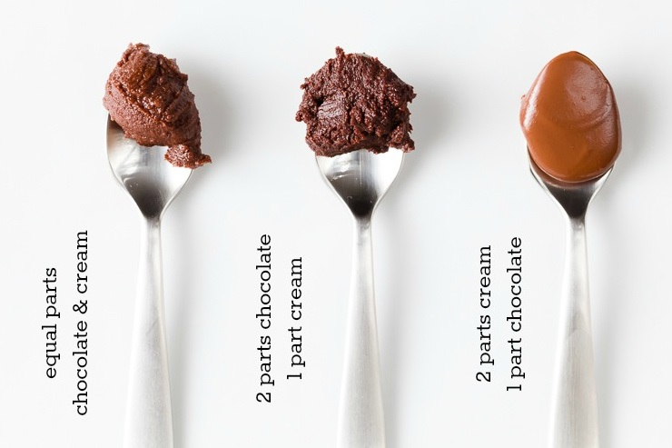three spoons showing cooled ganache with equal parts chocolate to cream, 2 parts chocolate to 1 part cream, and 2 parts cream to 1 part chocolate