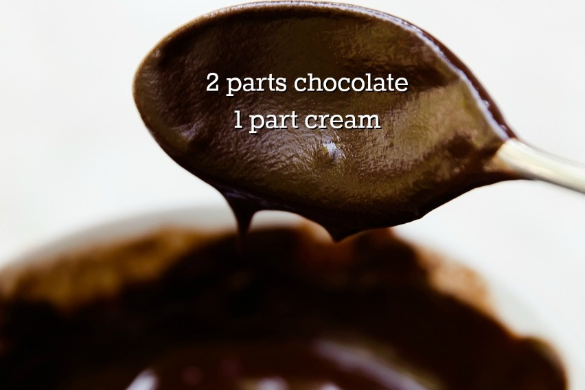 chocolate ganache made of two parts chocolate to one part cream