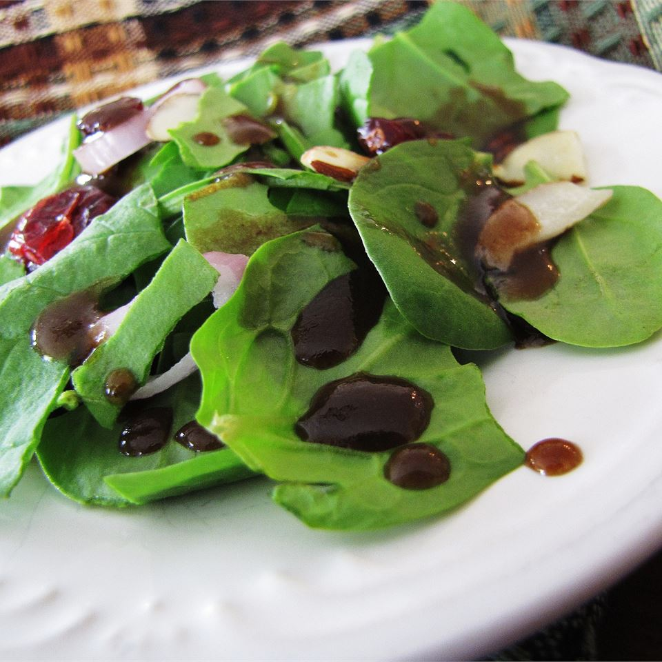 Maple-Balsamic Vinaigrette on a spinach salad