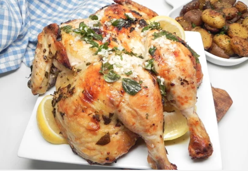 """""""Speed up cook time on a whole chicken by spatchcocking it,"""" says recipe creator Soup Loving Nicole. """"It is simple to do and only requires a sharp pair of kitchen shears and five minutes of your time."""""""