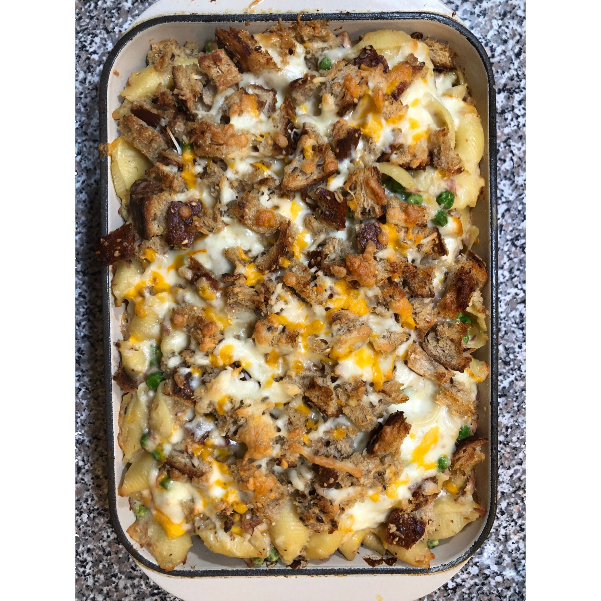 Tuna Noodle Casserole with Bechamel Sauce in a dish
