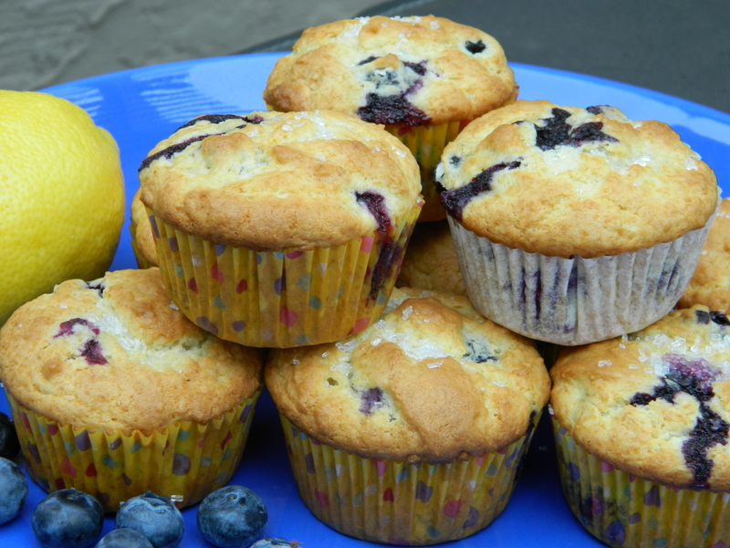 Chef John's Blueberry Muffins by Marianne blue plate lemon in background