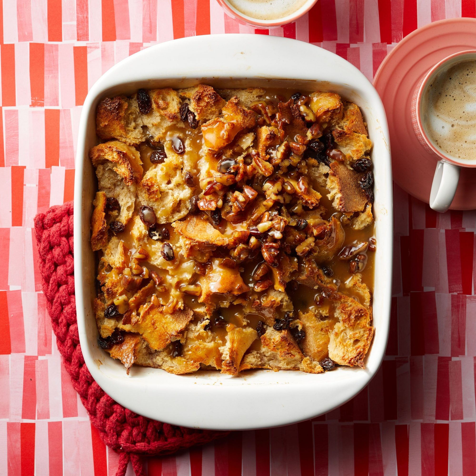 Bread Pudding with Praline Sauce in a casserole dish