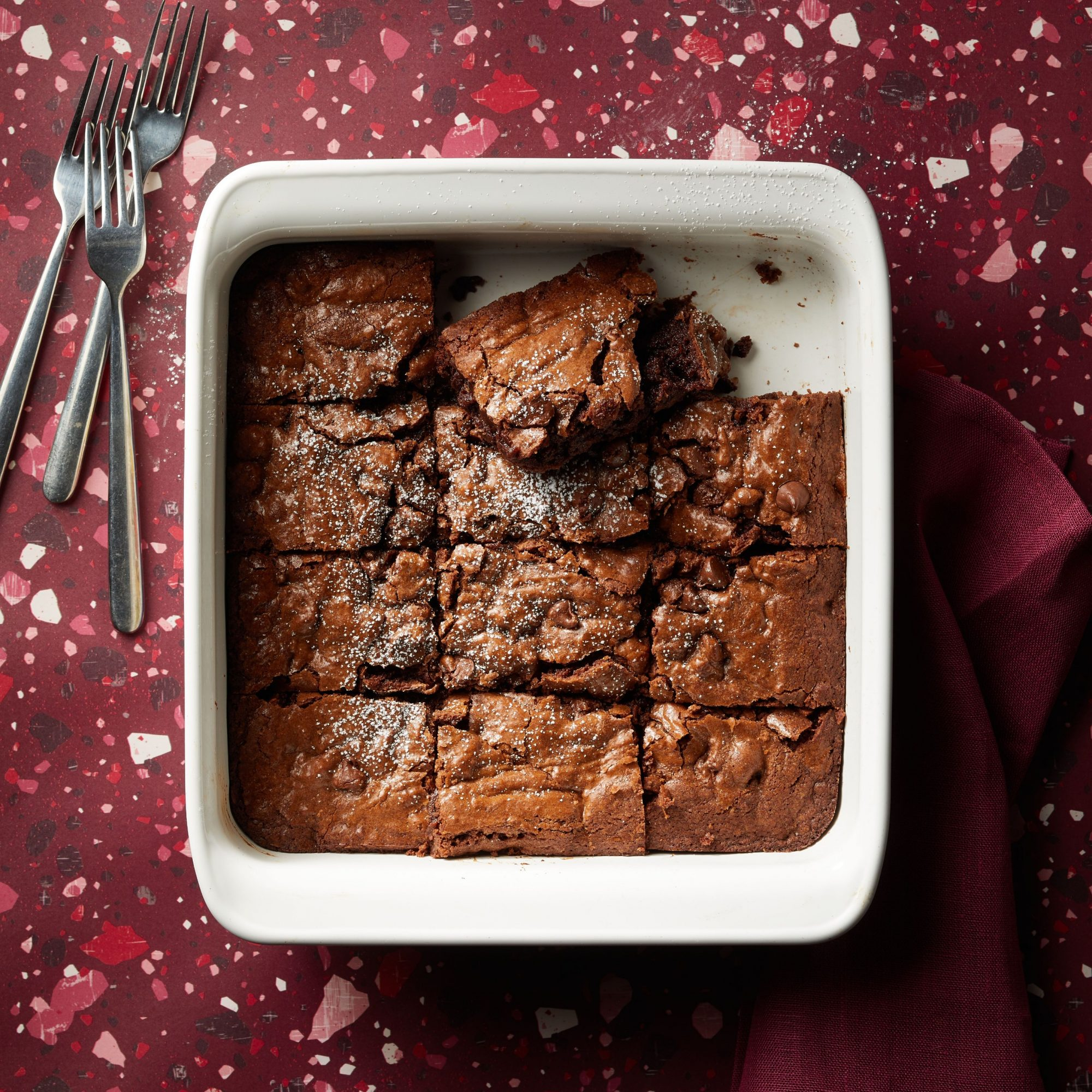 Brooke's Best Bombshell Brownies in a square white casserole dish
