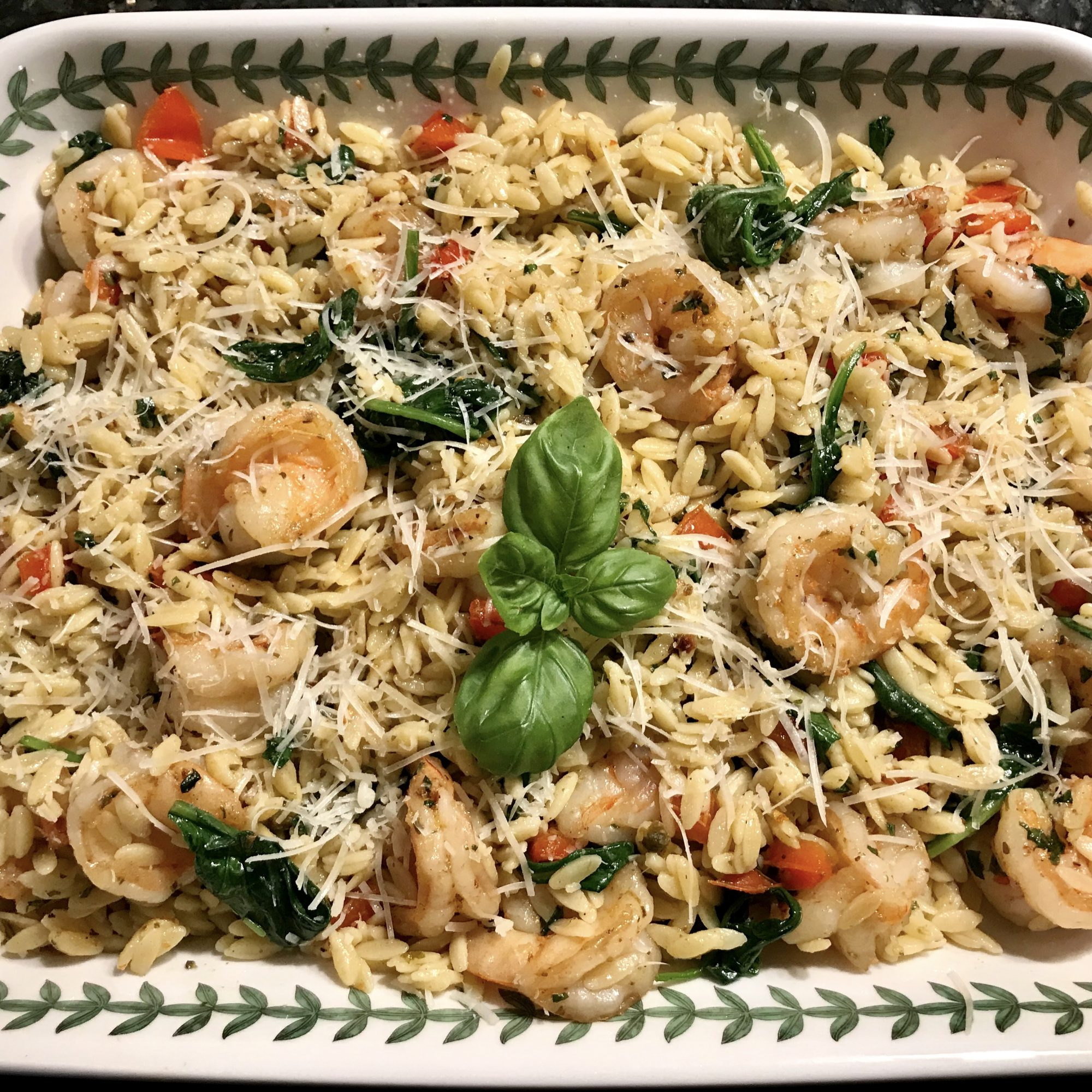 orzo with shrimp, spinach, pesto