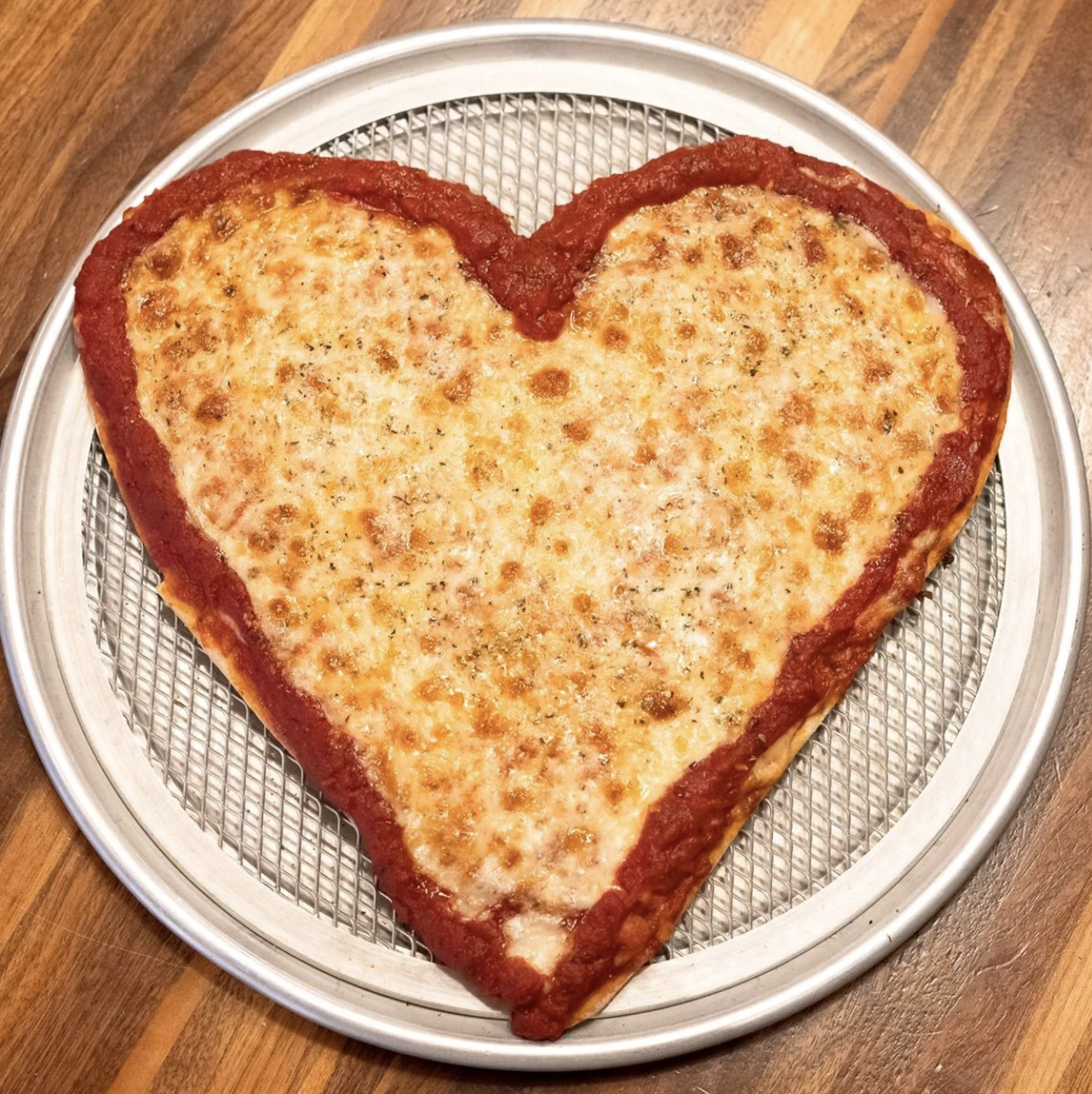 Heart-Shaped Thin Crust Pizza