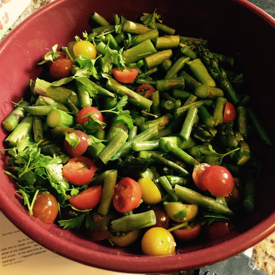 Green Bean and Asparagus Salad in a red bowl